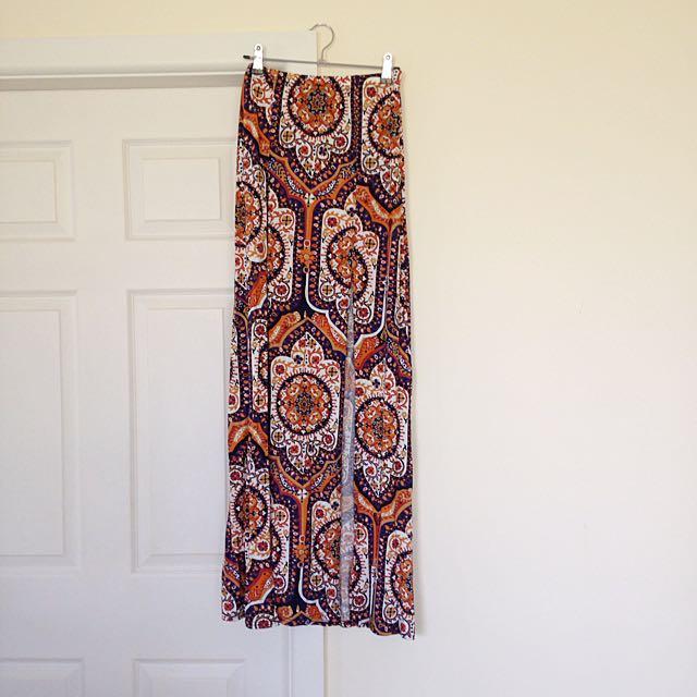 Boohoo 70's Paisley Maxi Skirt