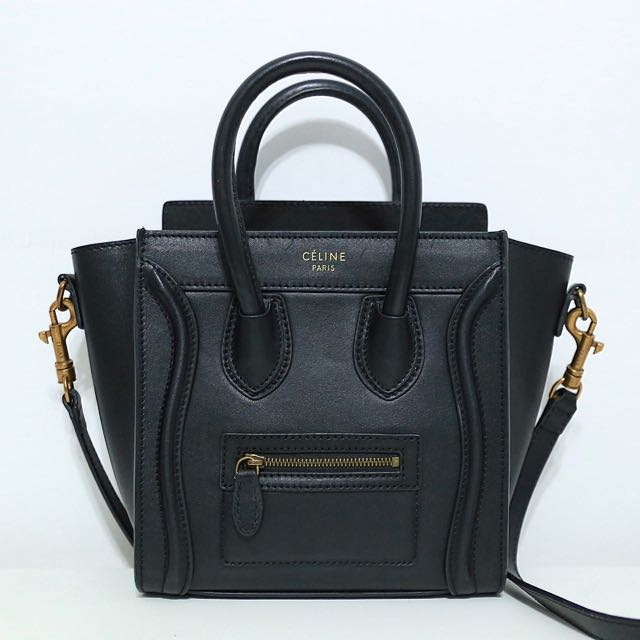 Celine nano luggage 1:1 black leather