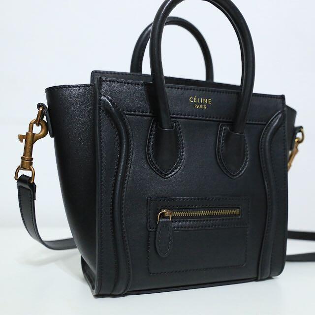 Celine nano luggage 1:1 black leather