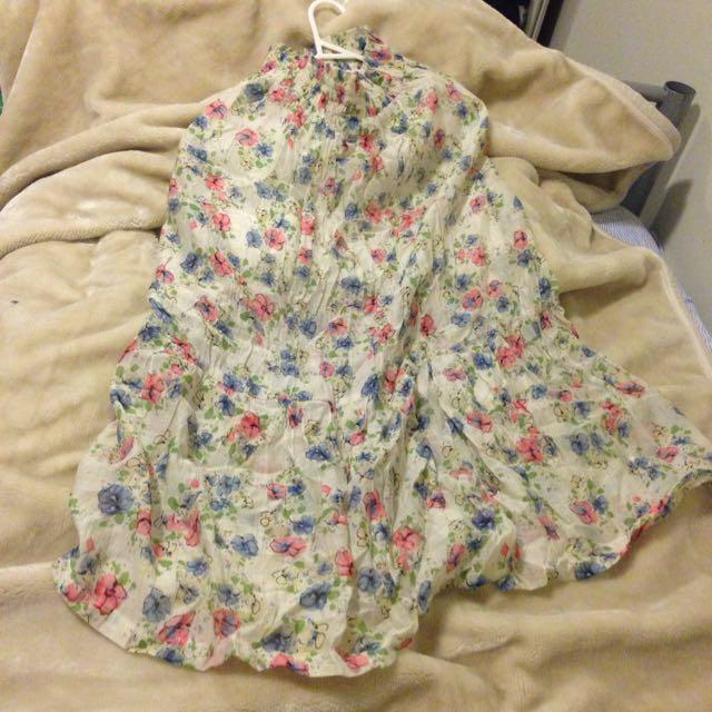 Flowery double wear strapless dress/skirt