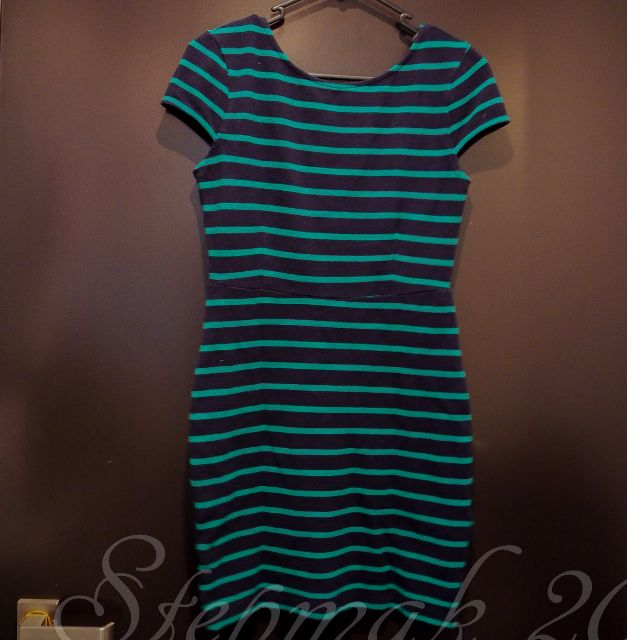 Forever 21 Navy Green Pencil Dress in Stripe