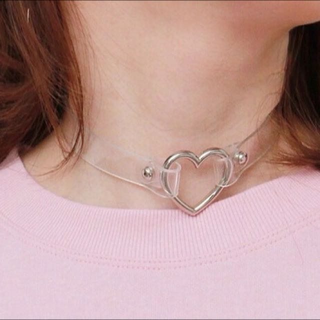 Heart Clear Plastic Choker Necklace O Ring