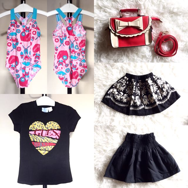 Kids Stuff (mini handbag+swimsuit+t'shirt+2pcs Skirt)