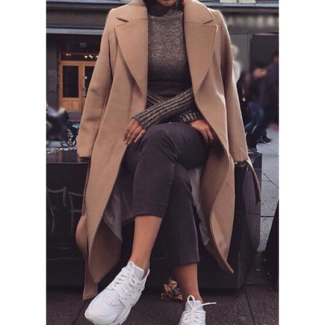 Long Carmel wool coat
