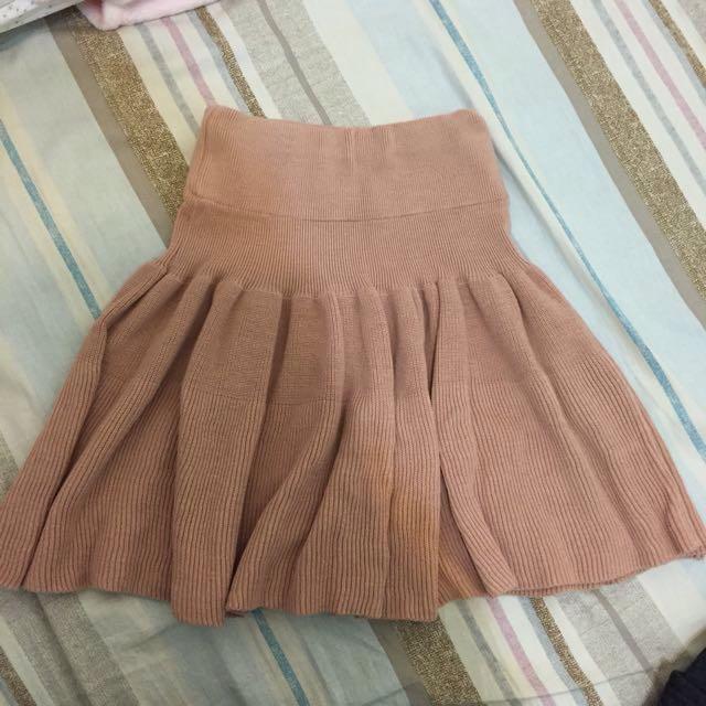 Mihara 正韓 粉色鬆緊彈性腰頭 高腰針織圓裙