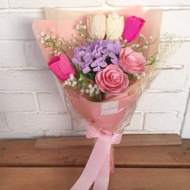 Mix Bouquet (Hydrangea, tulips, roses & Baby's Breath) PINK EDITION