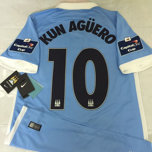 90a37e69 Official Authentic NIKE Manchester City 2015-16 Home Capital One Cup Final  Jersey KUN AGUERO #10 champions league Premier League, Sports on Carousell