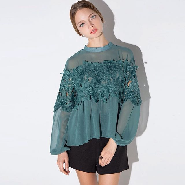 Pixie Market Sheer Lace Cutout Long Sleeve Green Aqua Top Size 12-14