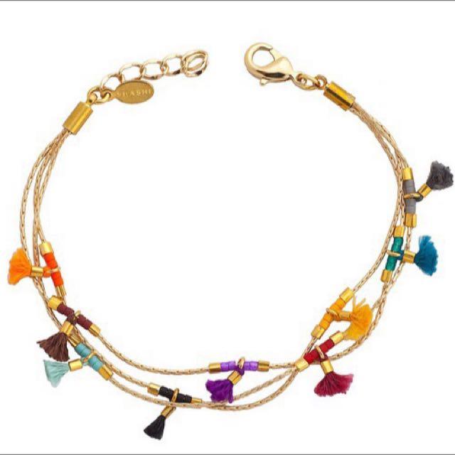 美國手工飾品shashi品牌代購 衝浪搖滾風混搭精緻多彩流蘇鍍K金 手鍊 手環 現貨
