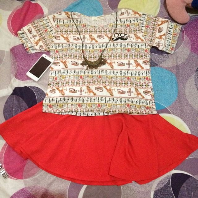 Shirt + Red Skirt
