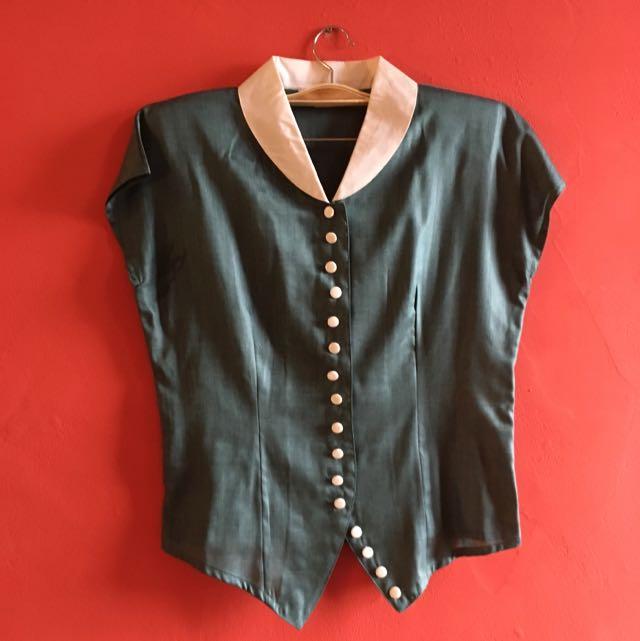 Vintage Emerald Silk Cotton blouse
