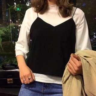 細肩背心+寬鬆漸層袖子白t