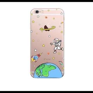 童趣可愛宇宙航空員地球手機殼 透明軟殼 iphone6 6s 5 5s Plus