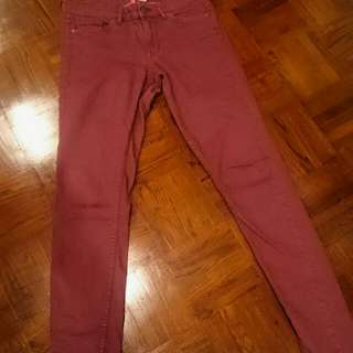 H&M Divided Maroon Jeans
