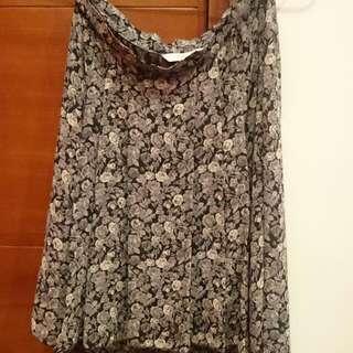 New Look Asymmetrical Floral Grey Skirt