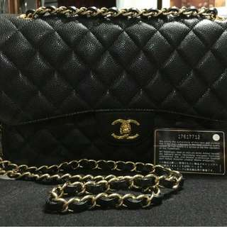 e47e690a01f0 Chanel Jumbo Double Flap Black Caviar GHW