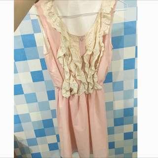 二手 粉橘無袖小洋裝