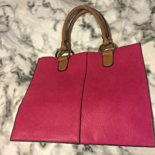 Pink Leather Tote Bag