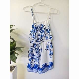 White & Blue Backless Playsuit