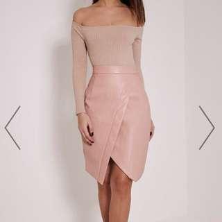 Greer Blush Faux Leather Wrap Midi Skirt