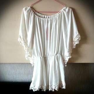 糊蝶袖的洋裝