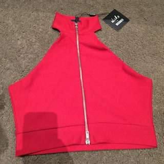 Misguided Crop Sz10 Zip Front (reversible) NWT
