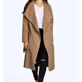 Belted Shawl Collar Coat- Taupe