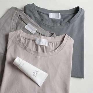韓系。basic氣質簡約 灰階純棉圓領素面短袖T上衣 三色