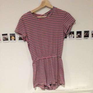 American Apparel Stripe Jumpsuit Size 6