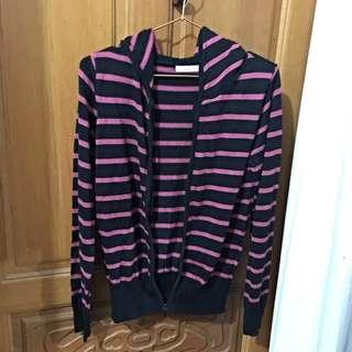 🚚 粉桃色條紋線衫小外套