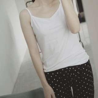 韓系。基礎basic款 絲質莫代爾棉細肩帶內搭小可愛 黑/白色