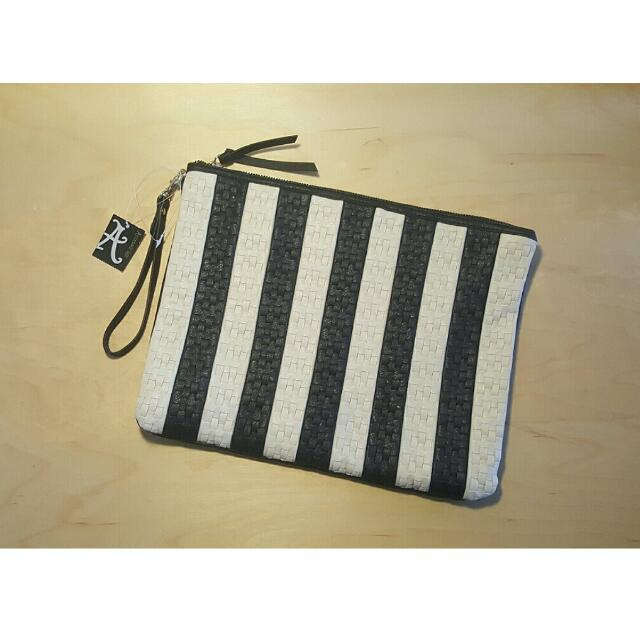Black And White Woven Clutch