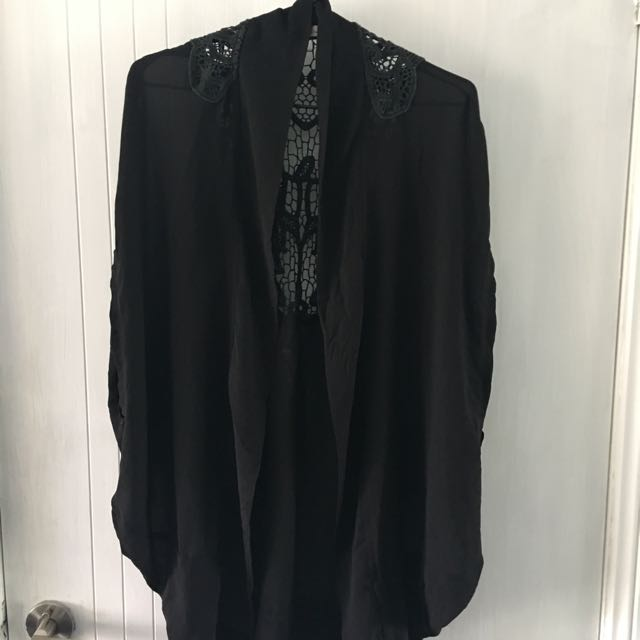Black Sheer Lace Over Throw Top