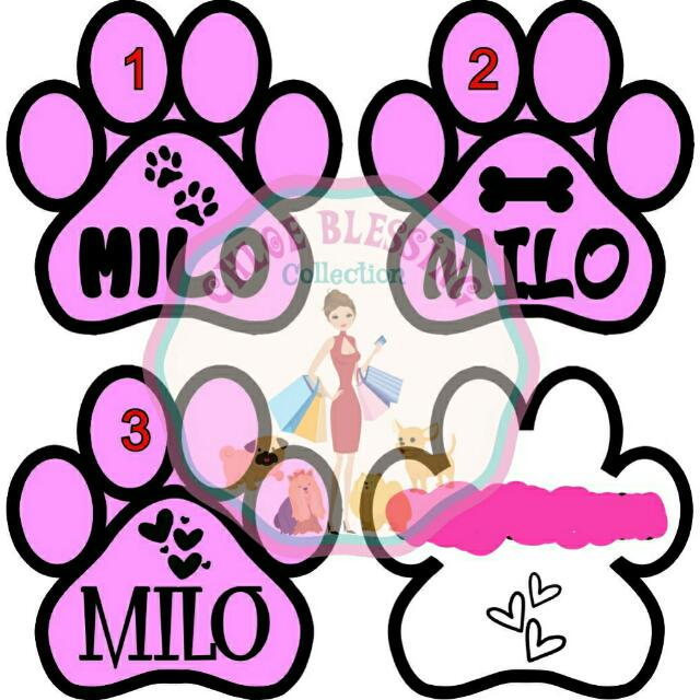 Dogtag Paw Pink