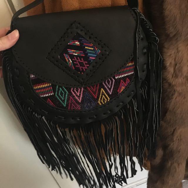 Leather Fringed Handbag