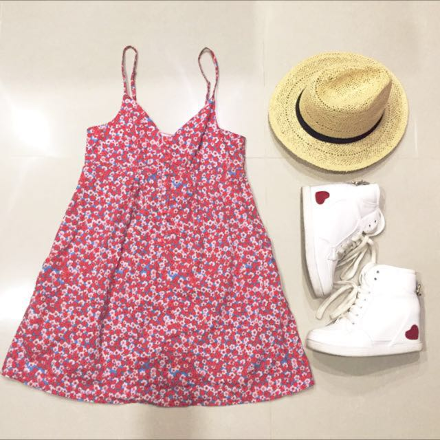 NET紅色小花細肩洋裝