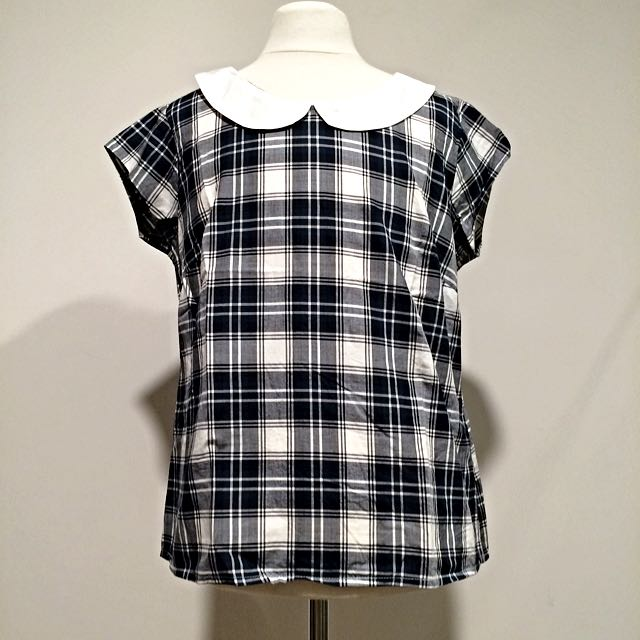 Tartan Top With Peter Pan Collar & Buttons Styling At The Back