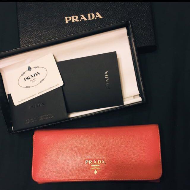 Prada桃色皮夾