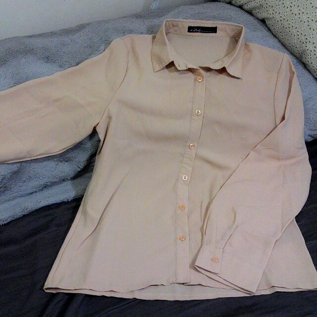 Queen Fashion Shop膚褐色雪紡長袖襯衫