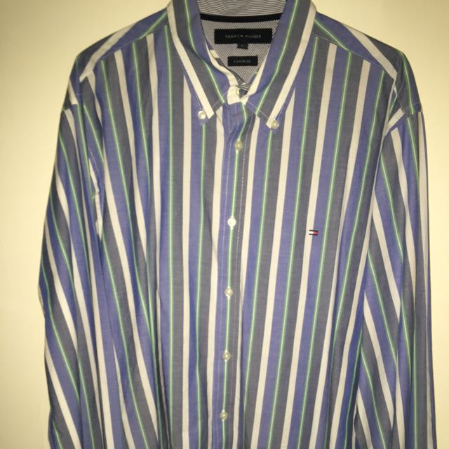 Tommy Hilfiger Long Sleeve Button Up (LARGE)