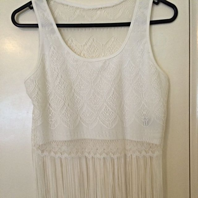 White tassel crop top