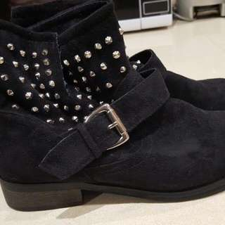 Betts Pull On Slouch Boots. Sude With Studs