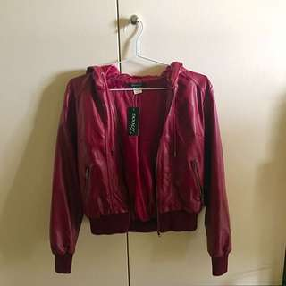 Leather Bomber Jacket In Wine
