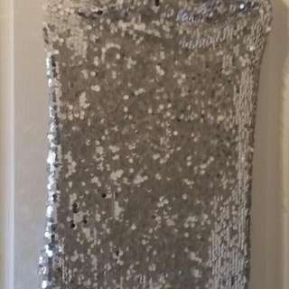 Stunning Silver Sequinned stretch Dress SIZE 10 To 12