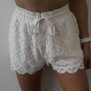 Minkpink Lace Crochet White Shorts (Can't Buy Anymore)
