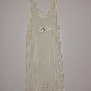 White Crochet Short Dress- Tags On