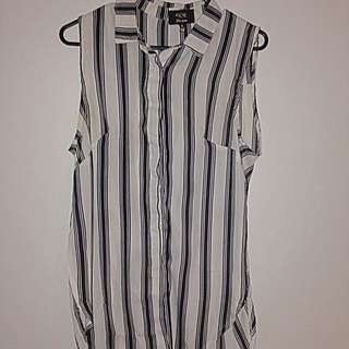 Striped Blouse With Side Splits