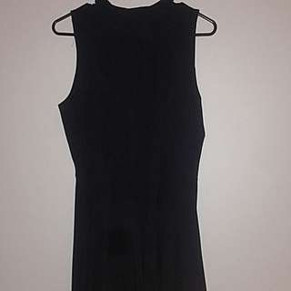 High Neck Black Dress- Short