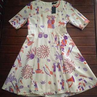 Dress Batik Motif ondel-ondel