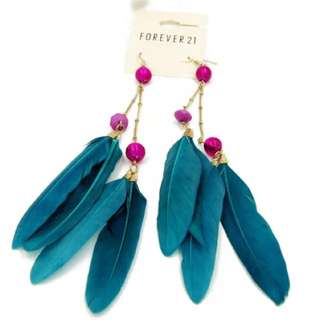 Green Blue Long Feather Earrings